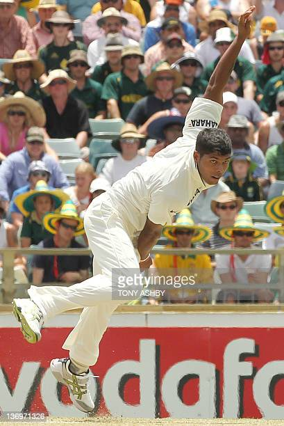 Indian fast bowler Umesh Yadav bowls on day two of the third cricket test match against Australia at the WACA ground in Perth on January 14 2012...