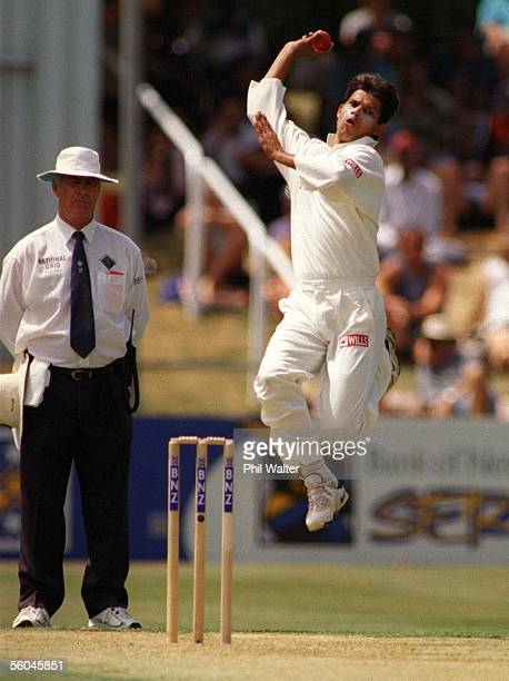Indian fastbowler Robin Singh in action during the final Cricket test between India and New Zealand held at the Westpak Trust Park in HamiltonSaturday
