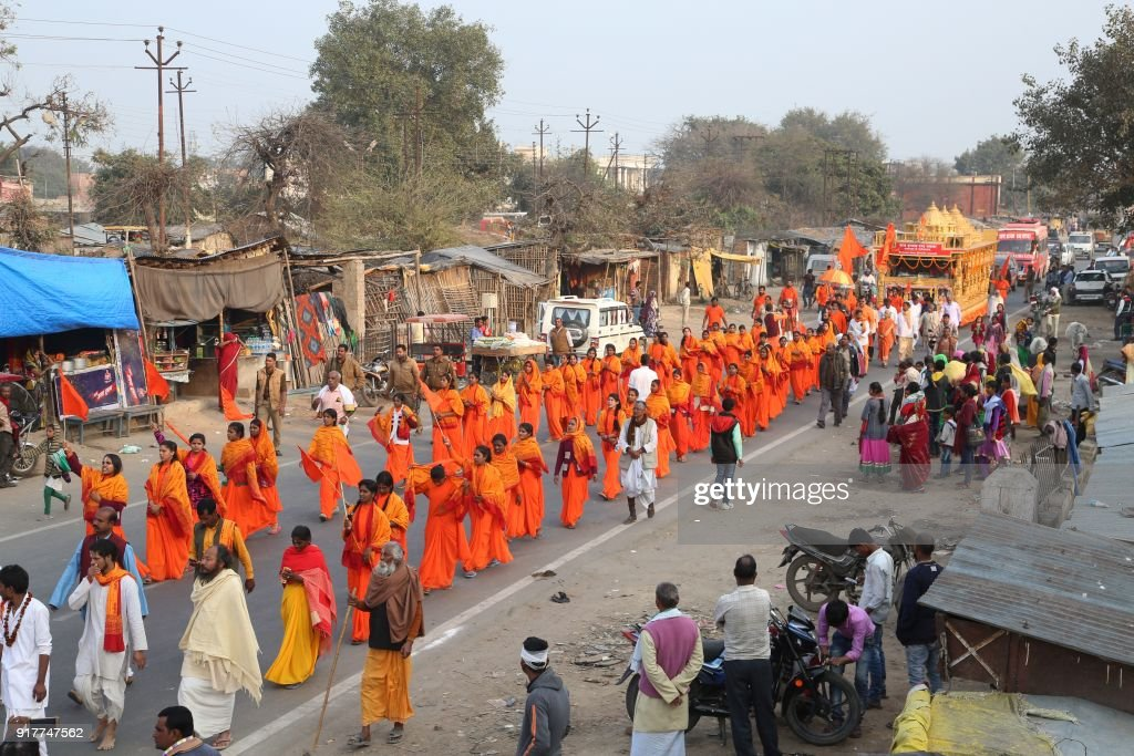 Indian female sadhus welcome the ram rajya rath yatra as they parade indian female sadhus welcome the ram rajya rath yatra as they parade along a road in ayodhya on february 13 2018 the ram rajya rath yatra procession thecheapjerseys Gallery