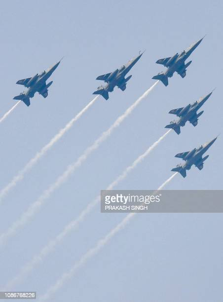 Indian fighter jets fly past during the full dress rehearsal for the upcoming Indian Republic Day parade in New Delhi on January 23 2019 India will...