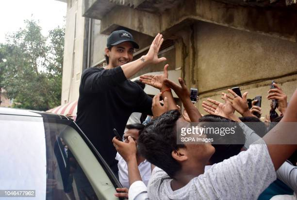 Indian film actor Aayush Sharma meets his fans at Chandan cinema Juhu in Mumbai