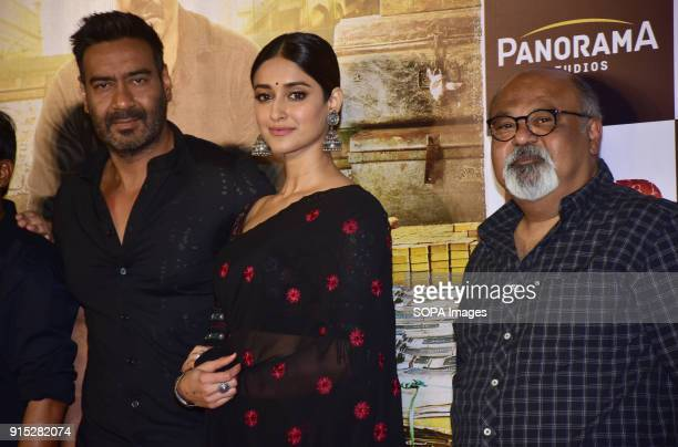 Indian film actor Ajay Devgn Ileana D'Cruz Saurabh Shukla pose during trailer launch of their upcoming film Raid at PVR Juhu in Mumbai