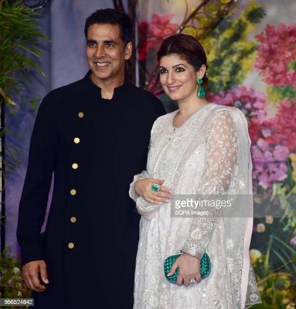 Indian film actor Akshay Kumar with wife Twinkle Khanna attend the wedding reception of actress Sonam Kapoor and Anand Ahuja at hotel Leela in Mumbai