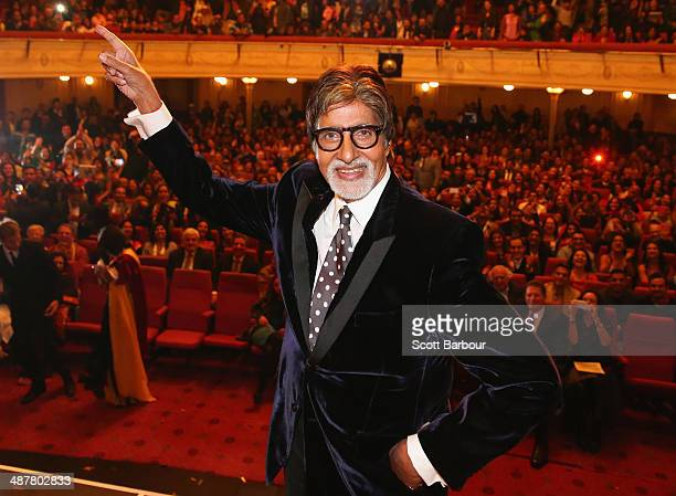 Indian film actor Amitabh Bachchan poses on stage during the Indian Film Festival of Melbourne Awards at Princess Theatre on May 2 2014 in Melbourne...