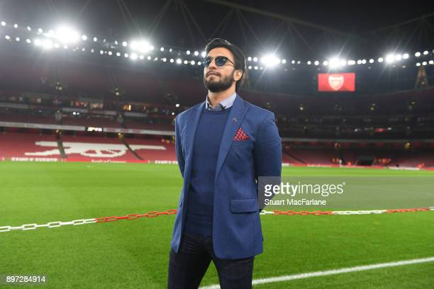 Indian film actor and Arsenal fan Ranveer Singh during the Premier League match between Arsenal and Liverpool at Emirates Stadium on December 22 2017...
