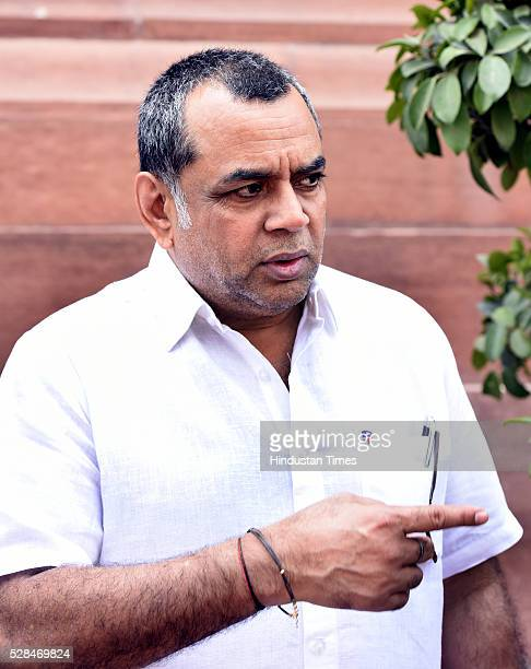 Indian film actor and BJP Lok Sabha MP Paresh Rawal arrives for the Parliament Session at Parliament House on May 5 2016 in New Delhi India The Lok...