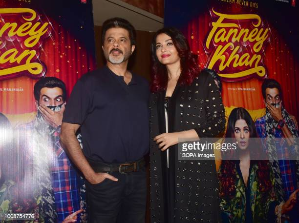 Indian film actor Anil Kapoor and actress Aishwarya Rai Bachchan attend the special screening of film 'Fanney Khan' at PVR cinema Juhu in Mumbai