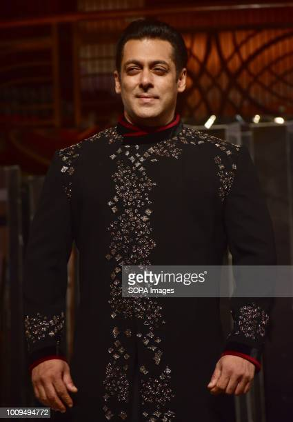 Indian film actor Salman Khan walk the ramp for designer Manish Malhotra's Haute Couture 2018 as showstopper at hotel JW Marriott Juhu in Mumbai