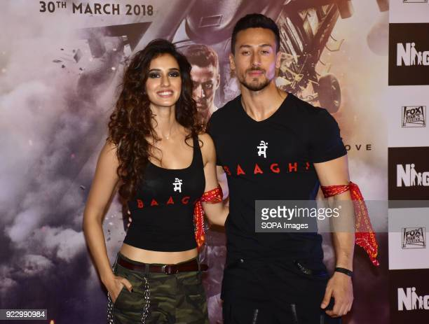 Indian film actor Tiger Shroff and Actress Disha Patani present at the trailer launch of their upcoming film Baaghi 2 at PVR lower parel in Mumbai