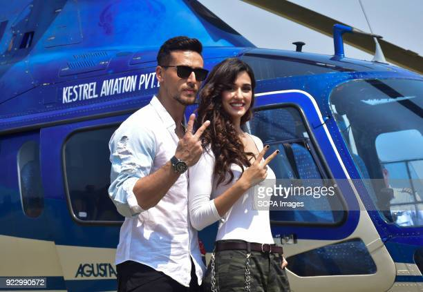 Indian film actor Tiger Shroff and Actress Disha Patani take an Helicopter ride to promote their upcoming film Baaghi 2 in Mumbai