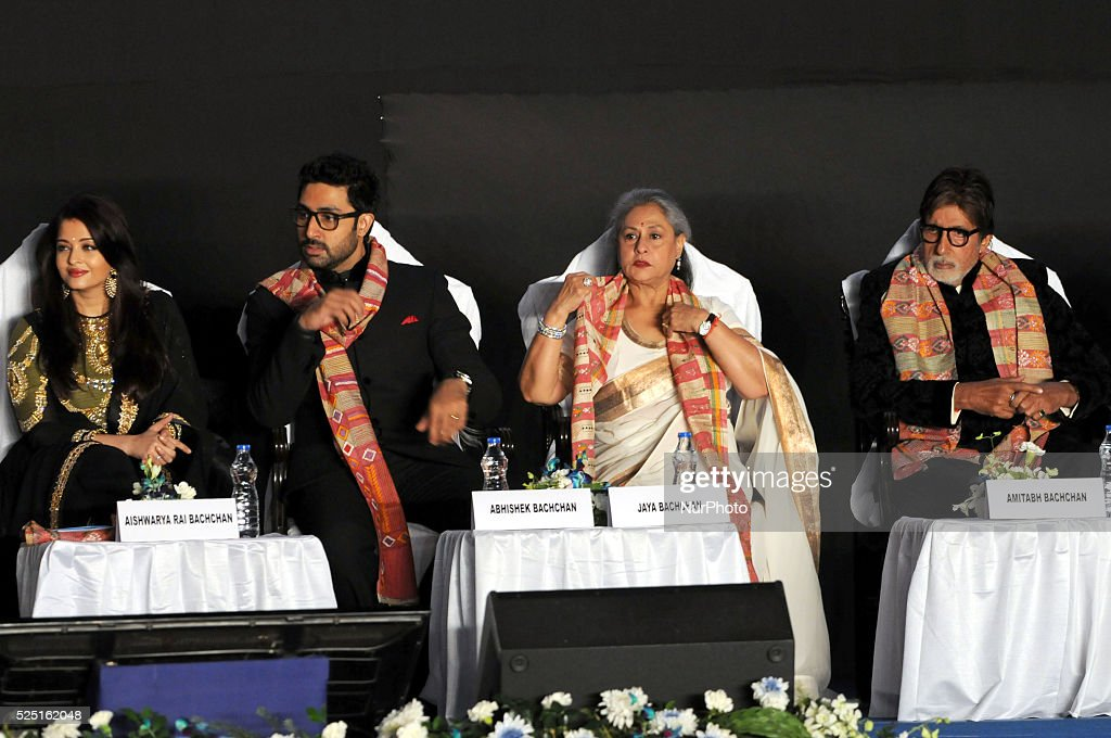 Indian film actors Amitabh Bachchan Abhishek Bachchan Aishwarya Rai Bachchan and Jaya Bachchan