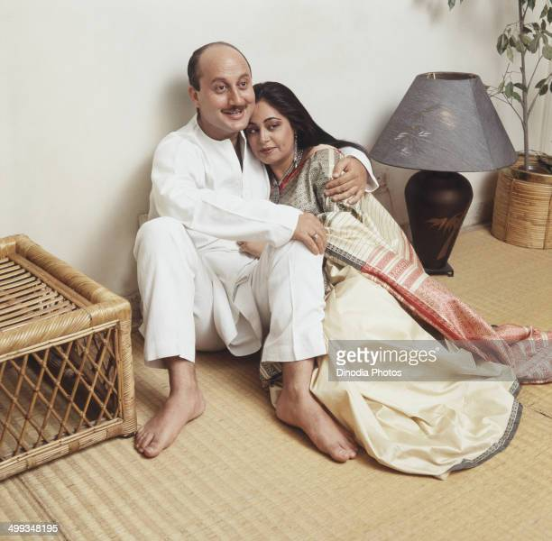 1987 Portrait of Indian film actor Anupam Kher and actress Kiron Kher