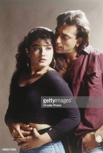 1996 Portrait of Indian film actor Sanjay Dutt and Raveena Tandon