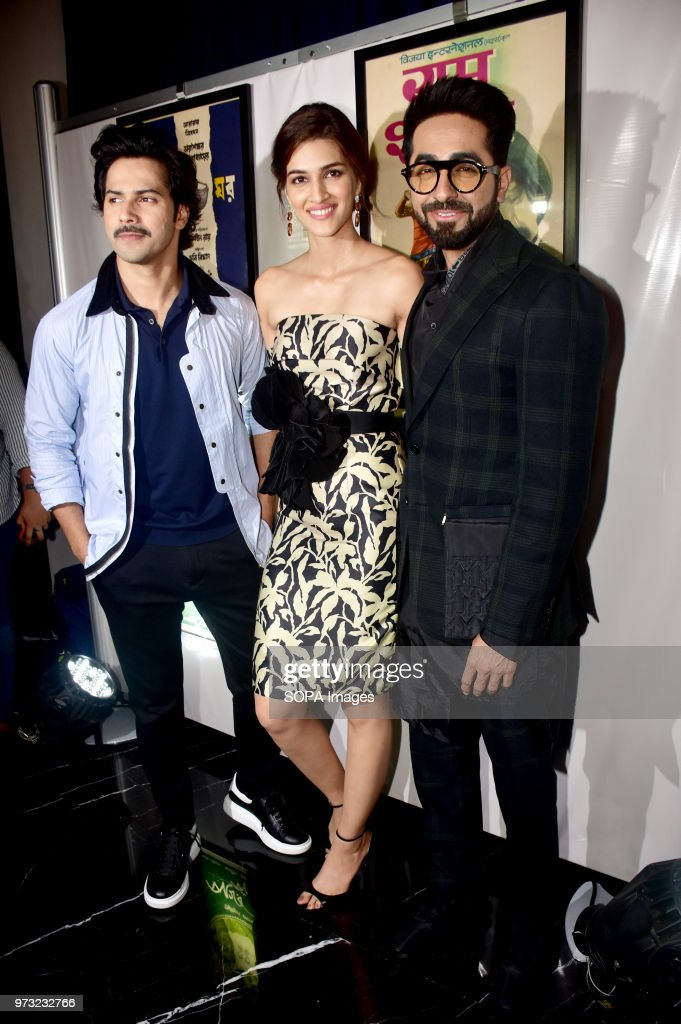 Indian film actors Varun Dhavan Kriti Sanon and Ayushmann Khurrana pose during a press conference in Mumbai for the 19th edition of Nexa IIFA Awards..