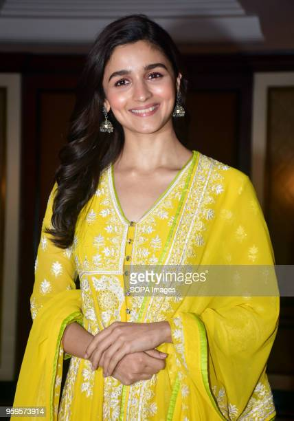 Indian film actress Alia Bhatt pose for a picture during the success party of film Raazi at hotel Taj Lands End Bandra in Mumbai