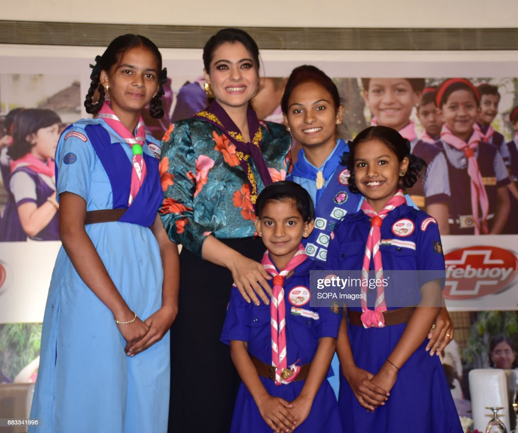 Indian film actress and Lifebuoy Handwashing Ambassador `Kajol` seen posing for a picture with children as she join hands with Lifebuoy`s help a...