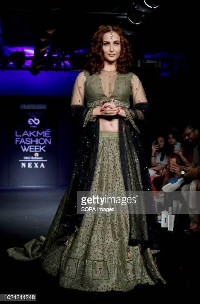 Indian film actress Elli Avram seen showcasing a design by Etika 4th day of the Lakme Fashion Week Winter/Festive 2018 at hotel St Regis in Mumbai