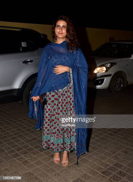 Indian film Actress Fatima Sana Sheikh seen posing at film 'Badhaai Ho' special screening at Juhu PVR in Mumbai on 17 October2018