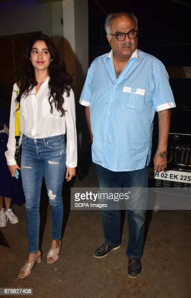 Indian film actress Janhvi Kapoor with dad Bonny Kapoor attend the special screening of Web series Bose Dead/Alive at Sunny sound studio Juhu in...