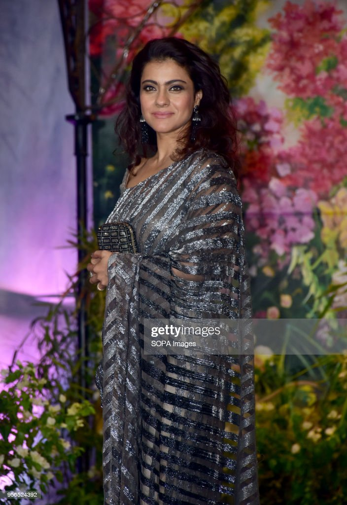 Indian film actress Kajol attend the wedding reception of actress Sonam Kapoor and Anand Ahuja at hotel Leela in Mumbai