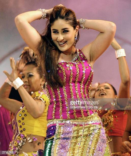 Indian film actress Kareena Kapoor performs at a concert for the World Youth Peace Summit in Bombay 08 November 2003 The concert was organised by...
