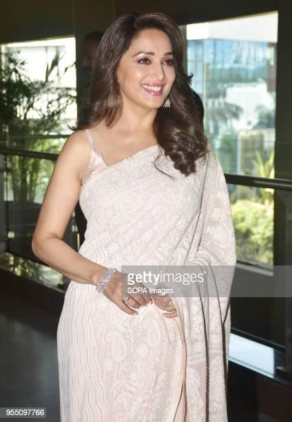 Indian film actress Madhuri Dixit present at the trailer launch of Marathi film 'Bucket List' at Cinepolis Andheri in Mumbai