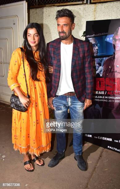 Indian film actress Mughda Godse and actor Rahul Dev attend the special screening of Web series Bose Dead/Alive at Sunny sound studio Juhu in Mumbai