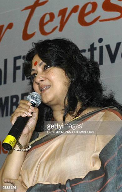 Indian film actress Munmun Sen adresses the opening ceremony of the 'Mother Teresa International Film Festival' in Calcutta 01 November 2003 Ten...