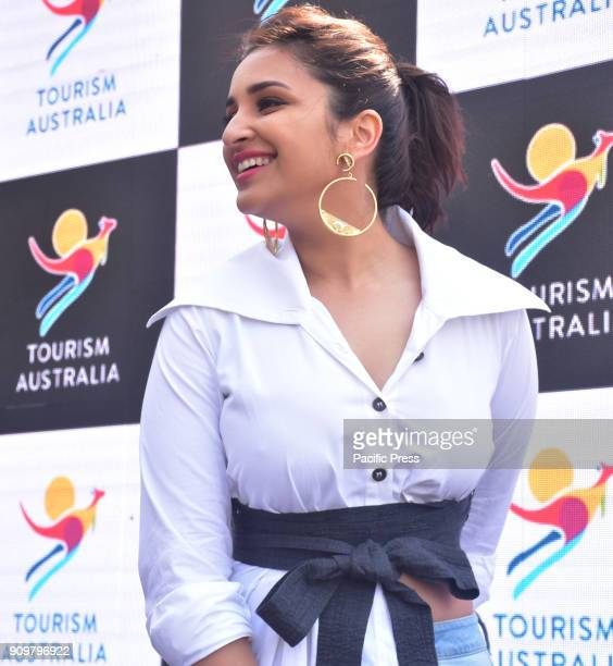 Indian film Actress Parineeti Chopra poses during promotional event of Tourism Australia in Mumbai