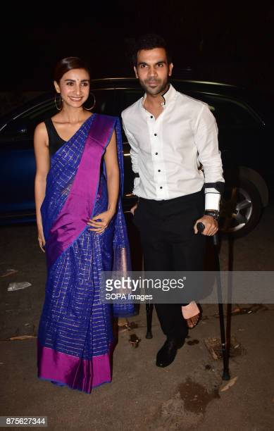 Indian film actress Patralekha and actor Rajkumar Rao attend the special screening of Web series Bose Dead/Alive at Sunny sound studio Juhu in Mumbai