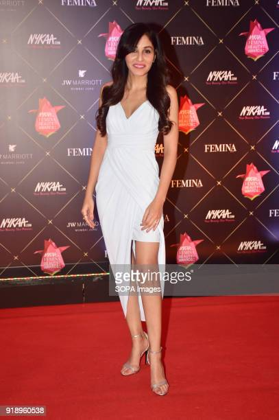 Indian film actress Pooja Chopra attend the Red carpet event of '4th Edition of Nykaa Femina Beauty Awards 2018' at hotel JW Marriott Juhu in Mumbai