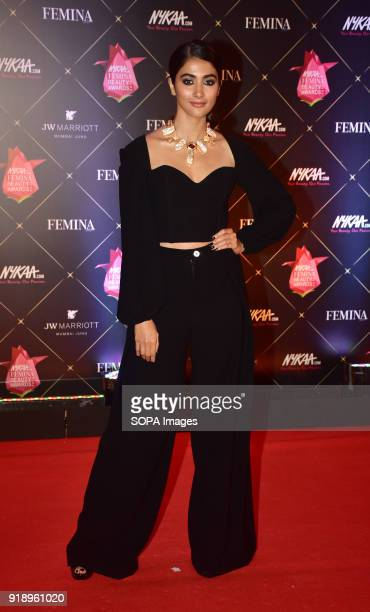 Indian film actress Pooja Hegde attend the Red carpet event of '4th Edition of Nykaa Femina Beauty Awards 2018' at hotel JW Marriott Juhu in Mumbai