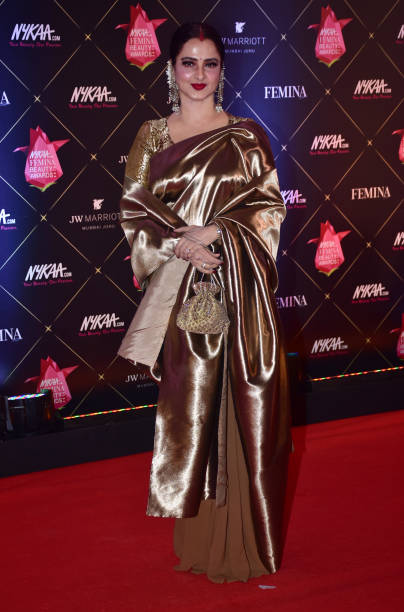Indian film actress Rekha attend the Red carpet event of `4th Edition of Nykaa Femina Beauty Awards 2018` at hotel JW Marriott Juhu in Mumbai