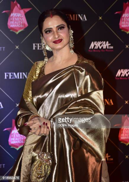 Indian film actress Rekha attend the Red carpet event of 4th Edition of Nykaa Femina Beauty Awards 2018 at hotel JW Marriott Juhu in Mumbai