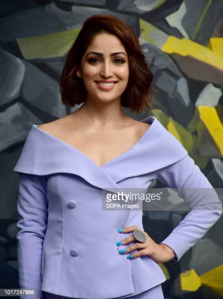 Indian film actress Yami Gautam seen posing after the event where she was announced as the Brand Ambassador for Hong Kong Tourism at Khar Social in...
