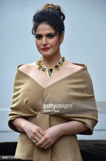 Indian film actress Zareen Khan poses during the promotion of her upcoming film Aksar2 on the set of TVs Comedy Dangal in Mumbai