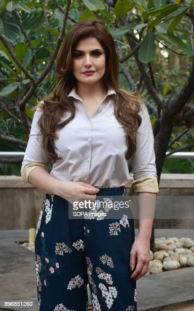 Indian film actress Zareen Khan spotted at a promotional event of her film '1921' at hotel Novotel juhu in Mumbai