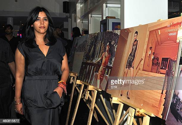 Indian film and televison producer Ekta Kapoor poses during the launch of the 'Telly Calendar 2015' in Mumbai on December 23 2014 AFP PHOTO