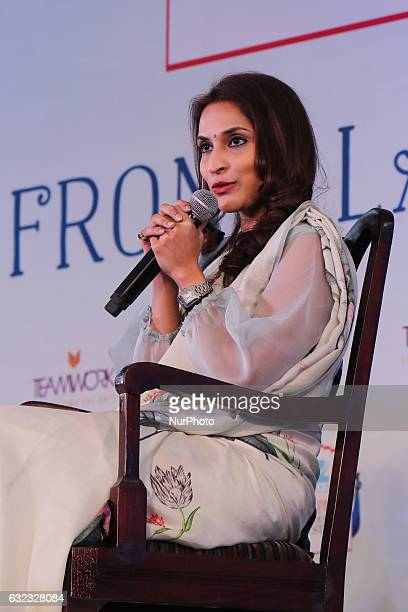 Indian Film Director Aishwaryaa Rajinikanth Dhanush speaks during the ZEE Jaipur Literature Festival at Diggi Palace in Jaipur Rajasthan India on...