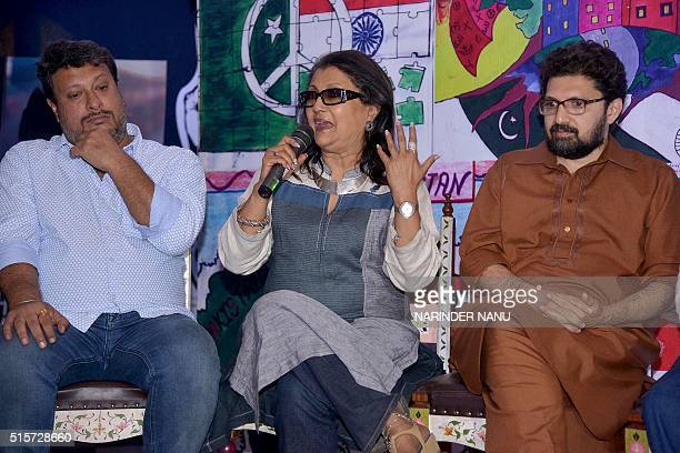 Indian film director Aparna Sen speaks next to Indian film director Tigmanshu Dhulia and Pakistani film director Farjad Nabi on the set of the 'Zeal...