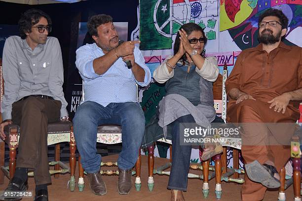 Indian film directors Aparna Sen and Tigmanshu Dhulia and Pakistani film directors Farjad Nabi and Siraj ul Haque speak on the set of the 'Zeal For...
