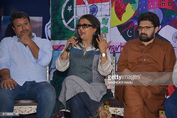 Indian film directors Aparna Sen and Tigmanshu Dhulia and Pakistani film director Farjad Nabi attend a 'Zeal For Unity' event intended to bridge the...