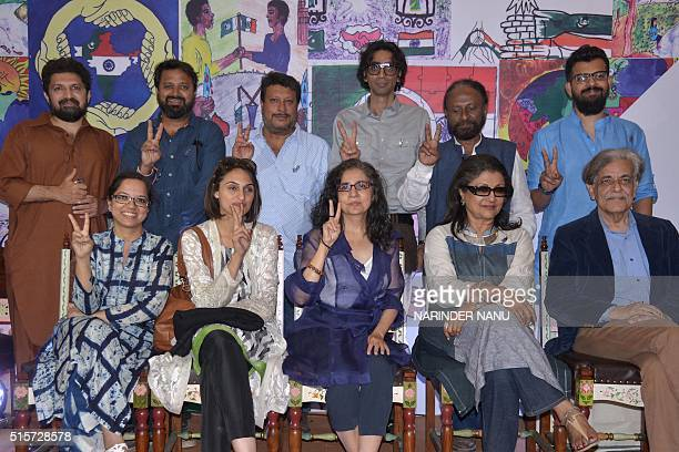 Indian film directors Aparna Sen Bejoy Nambiar Tigmanshu Dhulia Nikkhil Advani and Tanuja Chandra pose with Pakistani film directors Sabiha Sumar...