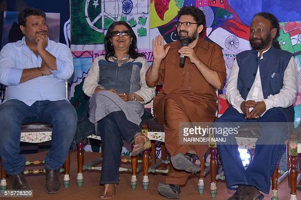Indian film directors Ketan Mehta Aparna Sen Tigmanshu Dhulia and Pakistani film director Farjad Nabi speak on the set of the 'Zeal For Unity' TV...