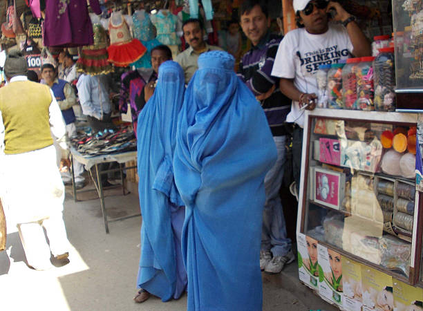 Indian film extras are seen wearing burqas for a scene depicting Pakistan's Abbottabad town in Kathryn Bigelow's forthcoming film on Osama bin Lad