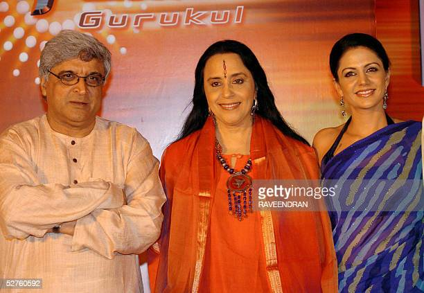 Indian film lyricist screenplay writer and poet Javed Akhtar singer Ila Arun and actress Mandira Bedi pose for photographers at the launch of Sony...
