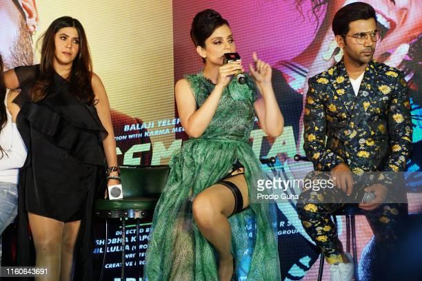 Indian Film producer Ekta Kapoor actor Kangana Ranaut and Raj kumar rao attends the song launch of movie Judgemental Hain Kya on July 72019 in Mumbai...