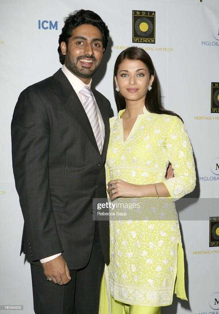 Indian film stars Abhishek Bachchan and Aishwarya Rai arrive at the `Guru` screening during India Splendor at The Hammer in Westwood California on...
