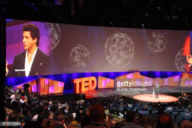 Indian film superstar Shah Rukh Khan speaks at a TED Conference in Vancouver on April 27 2017 / AFP PHOTO / Glenn CHAPMAN