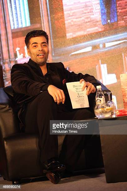 Indian filmmaker Karan Johar at the launch of book Dream With Your Eyes Open by Indian entrepreneur Ronnie Screwvala on April 8 2015 in New Delhi...